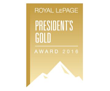 Royal LePage President's Gold Award Winner 2016